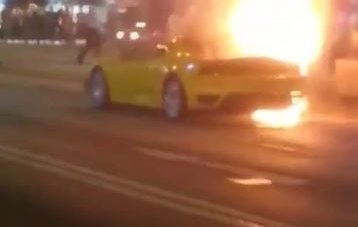 Yellow Ferrari F430 Goes Up In Flames In Hong Kong