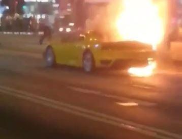 Yellow Ferrari F430 Goes Up In Flames In Hong Kong