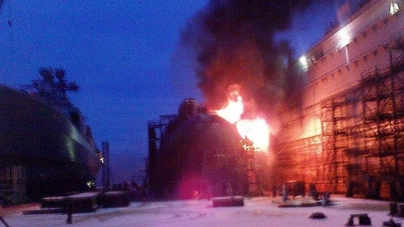 NUCLEAR  SUBMARINE  CATCHES  FIRE  AT  RUSSIAN  SHIPYARD !!